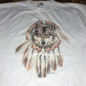Vintage Wolf Dream Catcher Native Jan Taylor Shirt